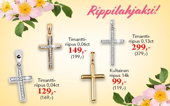 Kultaiset ristit rippilahjaksi! Tutustu ja osta! >>