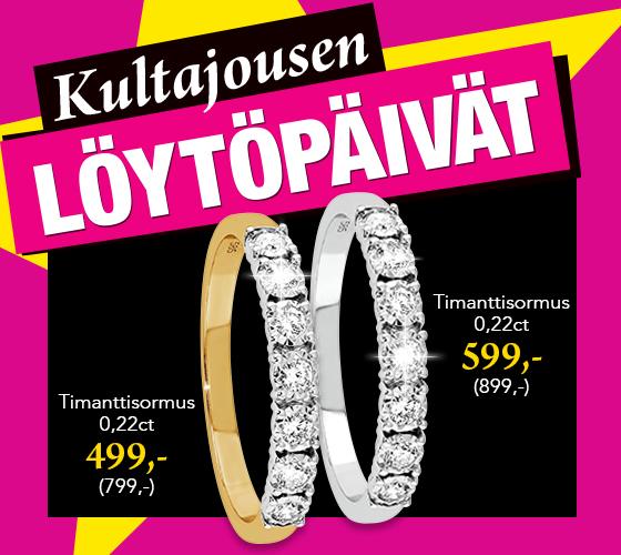 Upeat timanttisormukset 0,22ct nyt löytöhintaan! Säästä 300 €! Tutustu ja osta >>