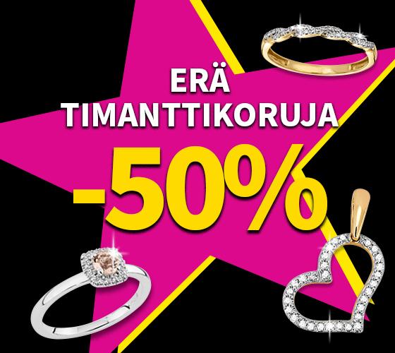 Erä timanttikoruja nyt -50 %! Tutustu ja osta! >>