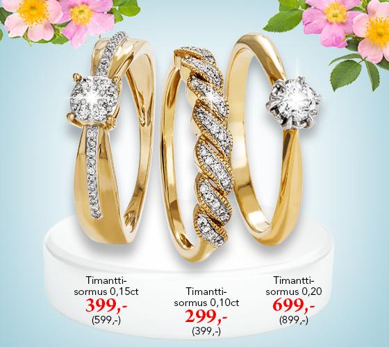 Upeita timanttisormuksia nyt lahjahintaan! Tutustu ja osta! >>