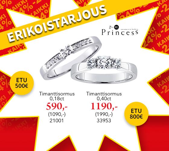 Kotimaiset Princess timanttisormukset huippu hintaan! Tutustu ja osta! >>