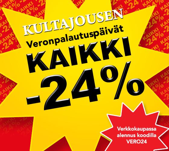 Kultajousessa on nyt VeroAle! Kaikki normaalihintaiset tuotteet -24 % koodilla VERO24
