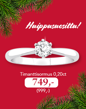 Huippusuosittu timanttisormus 0,20 ct nyt vain 749,- (999,-). Tutustu ja osta omasi >>