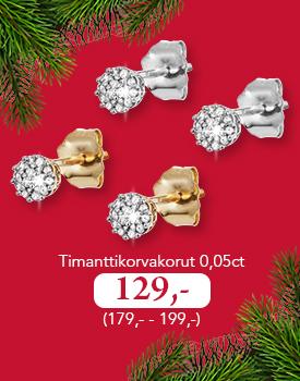 Upeat timanttikorvakorut nyt vain 129,- (179,-/199,-) )Tutustu ja osta omasi >>