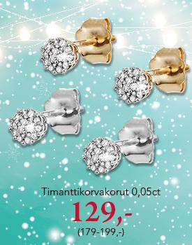 Timanttikorvakorut nyt tarjoushintaan 129,- (179-199,-). Tutustu ja osta>>