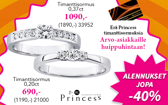 Erä Princess timanttisormuksia huippuhintaan! Tutustu ja osta >>