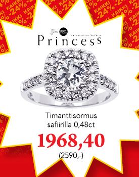 Princess timanttisormus -24 % koodilla VERO24, osta tästä >
