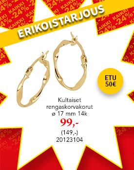 Upeat kultaiset korvakorut tarjoushintaan! Etu 50€! Tutustu ja osta! >>