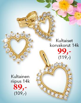 Upeat kultaiset korvakorut ja riipus lahjahintaan! Tutustu ja osta! >>