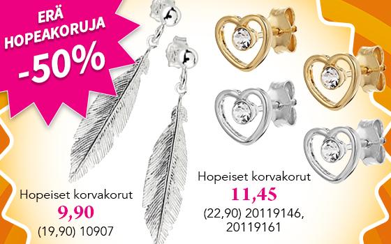 Nyt erä upeita hopeakoruja puoleen hintaan! Tutustu ja osta! >>