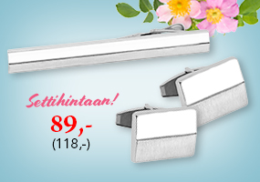 Hopeiset kalvosinnapit ja solmiopidin settihintaan 89,-! Tutustu ja osta >>