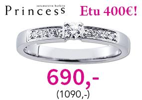 Princess timanttisormus huippuhintaan 690,- (1090,-)! Osta ja säästä 400 €! >>