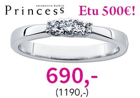 Princess timanttisormus huippuhintaan 690,- (1190,-)! Tutustu ja säästä 500 €! >>