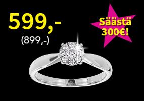 Timanttisormus 0,2ct nyt vain 599,- (899,-)! Osta ja säästä 300 €! >>