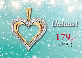 Uutuus! Kultainen sydänriipus timanteilla 179,- (249,-), osta tästä >