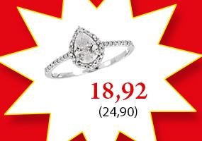 Näyttävä hopeinen pisara sormus tarjoushintaan 18,92€! Tutustu ja osta >>