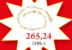 Upea kultainen rannekoru helmillä nyt 265,24€! Tutustu ja osta >>